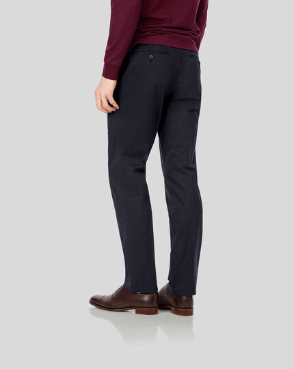Single Pleat Soft Washed Chinos - Navy