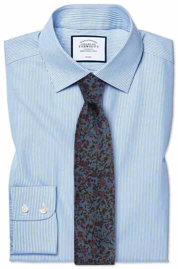 Bügelfreies Slim Fit Hemd mit Bengal-Streifen in Himmelblau