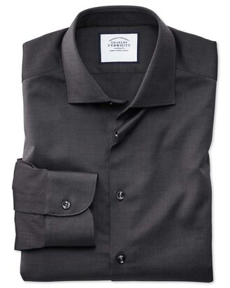 Extra slim fit business casual charcoal royal Oxford shirt