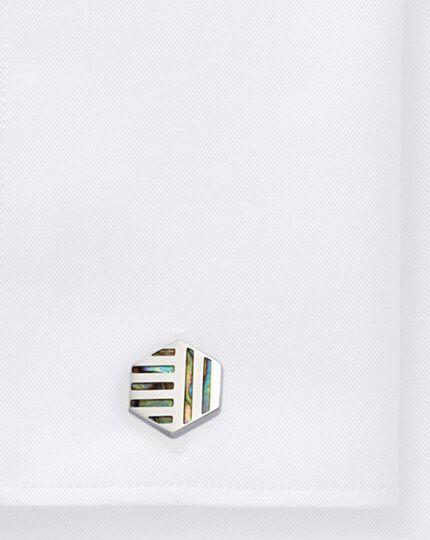 Black Mother of Pearl geometric hexagon cufflinks