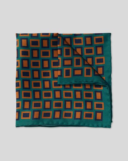 Retro Rectangle Print Pocket Square - Teal & Brown