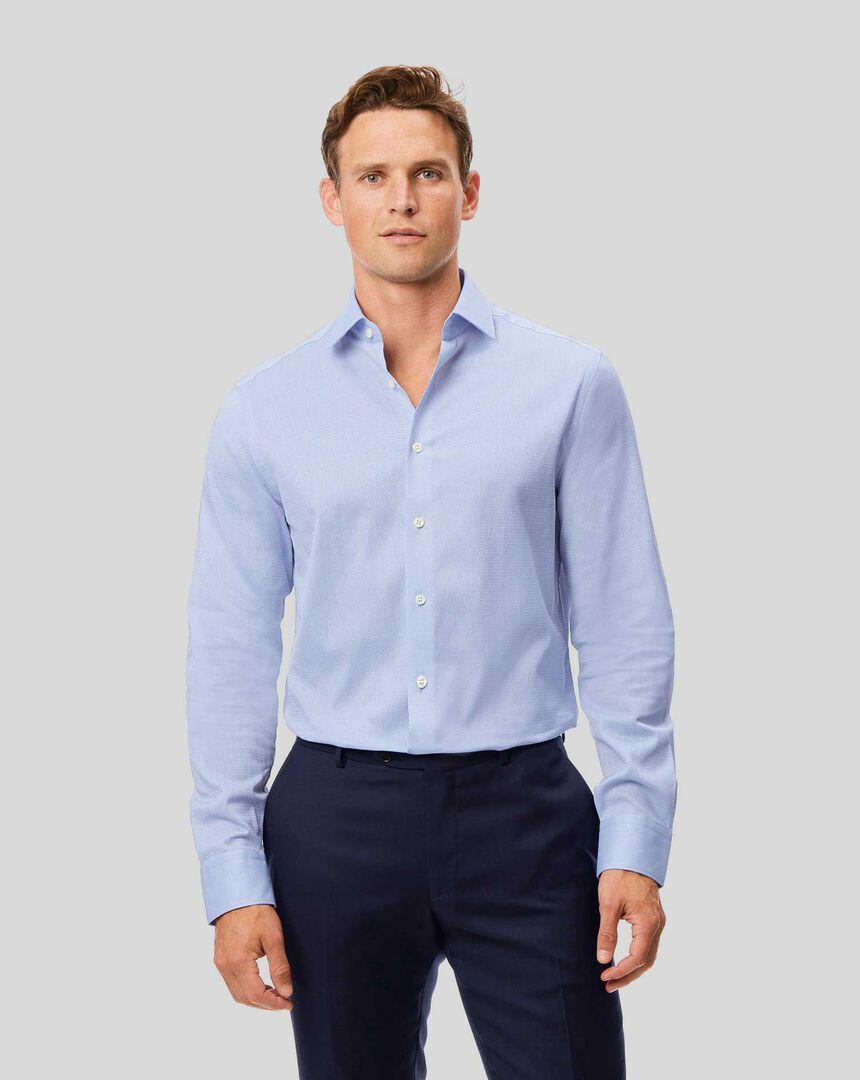 Semi-Cutaway Collar Italian Luxury Leno Shirt - Blue