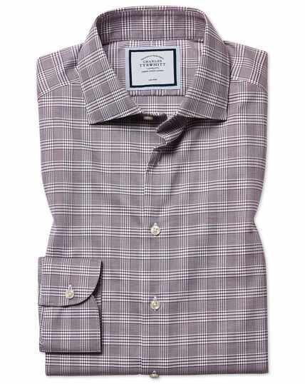 Classic fit non-iron natural stretch Prince of Wales check berry shirt