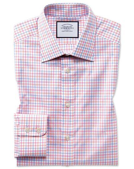 Classic fit Egyptian cotton poplin pink multi check shirt