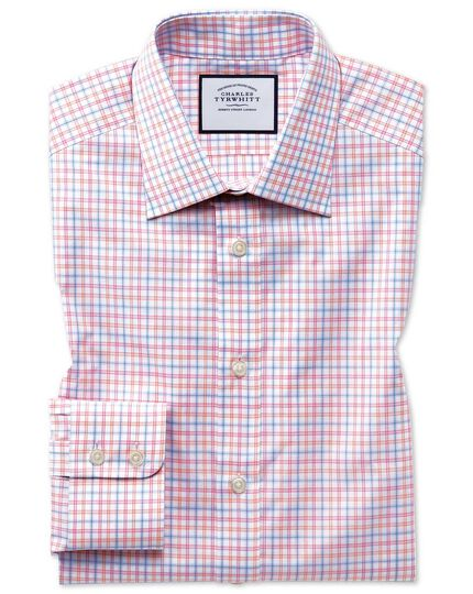 Classic fit Egyptian cotton poplin pink multi check shirt