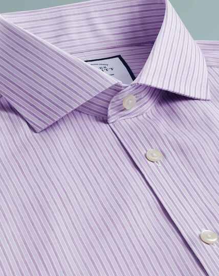 Hemd Bügelfrei mit Schattenstreifen - Violett