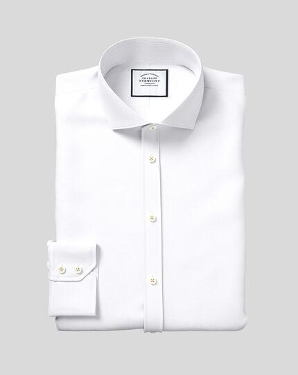 Spread Collar Egpytian Cotton Poplin Shirt - White