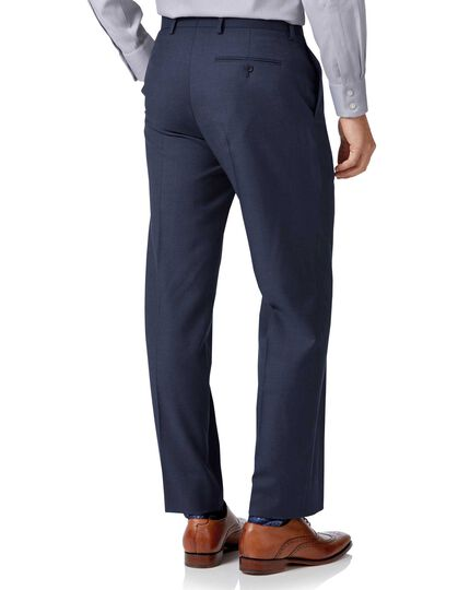 Classic Fit Business Twill-Anzughose in Mittelblau