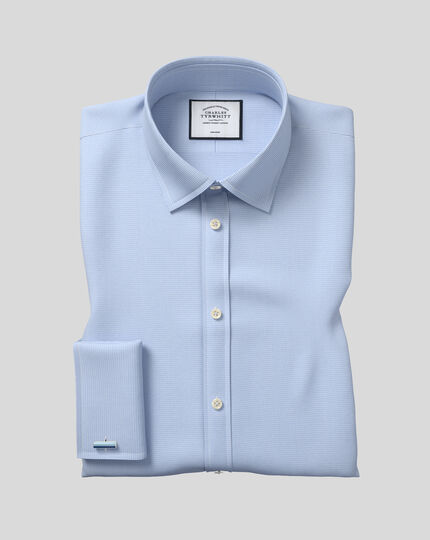 Classic Collar Non-Iron Puppytooth Shirt  - Sky