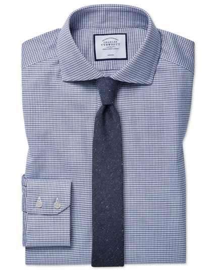 Extra slim fit cutaway collar non-iron cotton stretch navy shirt