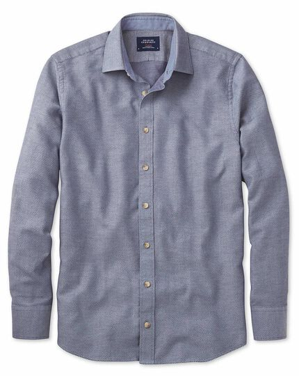 Classic fit washed textured denim blue shirt