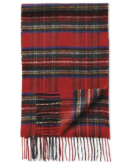 Red plaid cashmere scarf