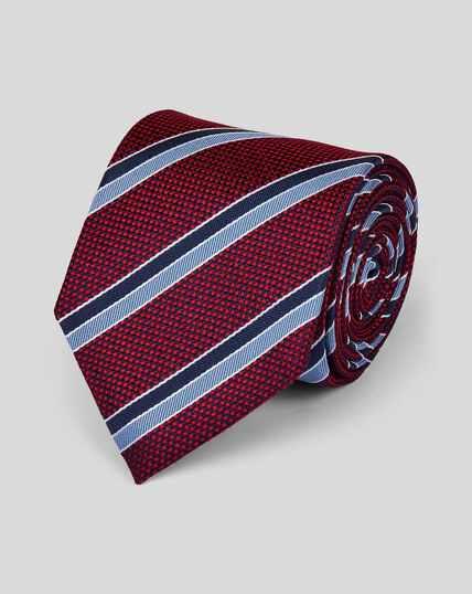 Cravate classique texturée en soie à rayures club - Rouge et bleu