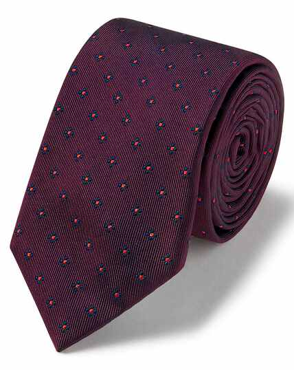Burgundy and navy lurex geometric slim tie