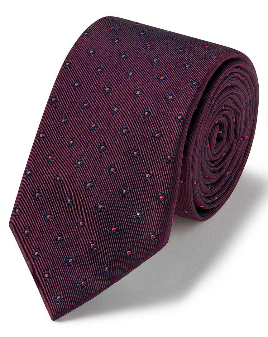 Burgundy and navy lurex geometric slim tie