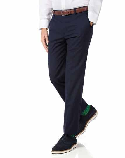 Navy slim fit lightweight wool trousers