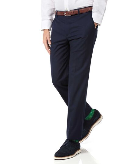 Navy slim fit light weight wool trousers