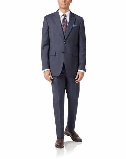 Light blue slim fit twill business suit