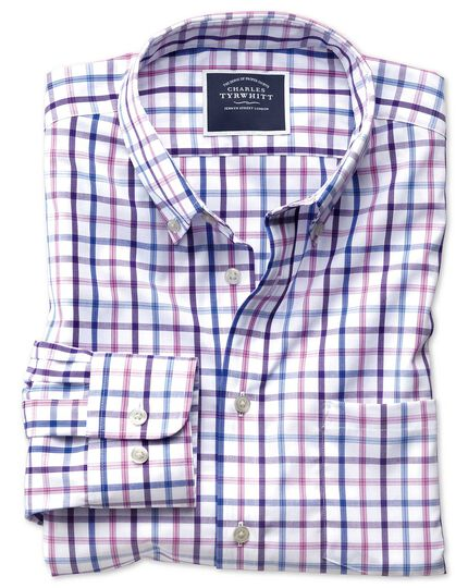 Bügelfreies Classic Fit Popeline-Hemd mit Button-down Kragen und buntem Karo in Flieder