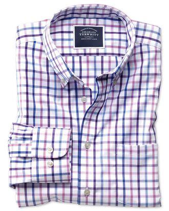 Bügelfreies Slim Fit Popeline-Hemd mit Button-down Kragen und buntem Karo in Flieder