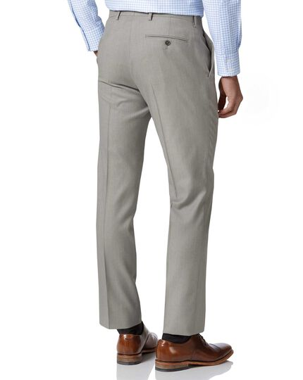 Light grey slim fit twill business suit trousers