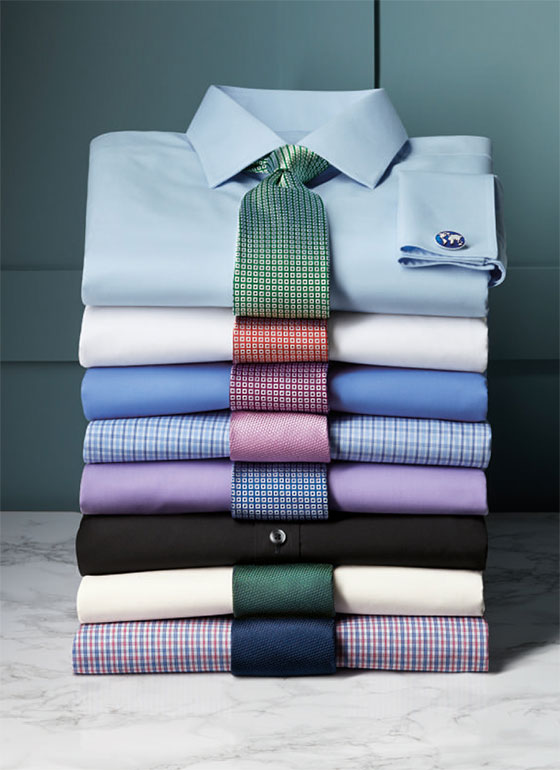 stacked poplin shirts
