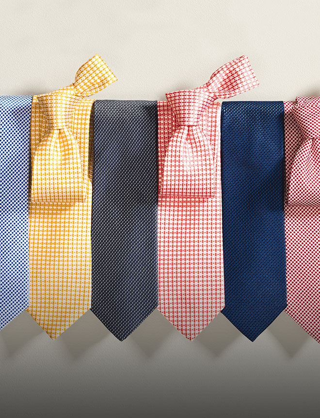 range of classic silk ties in summer colours