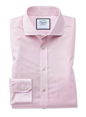 Pink micro check shirt