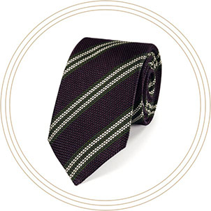 Burgundy silk stripe grenadine Italian luxury tie