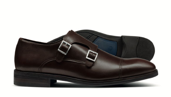Brown performance monk shoe