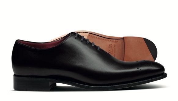 Black wholecut shoe