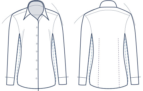 Women's semi-fitted shirt illustration