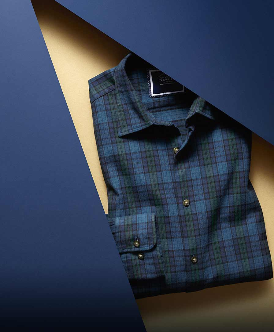 Navy and green check casual shirt