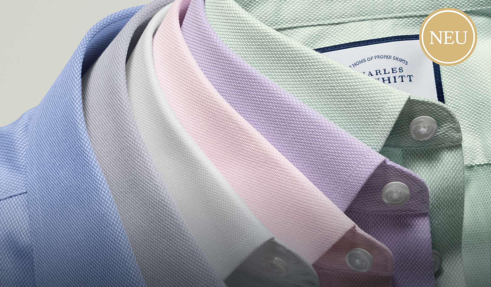 shirt collars in pastel colours