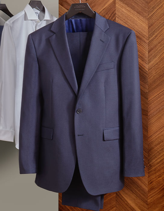 navy twill business suit