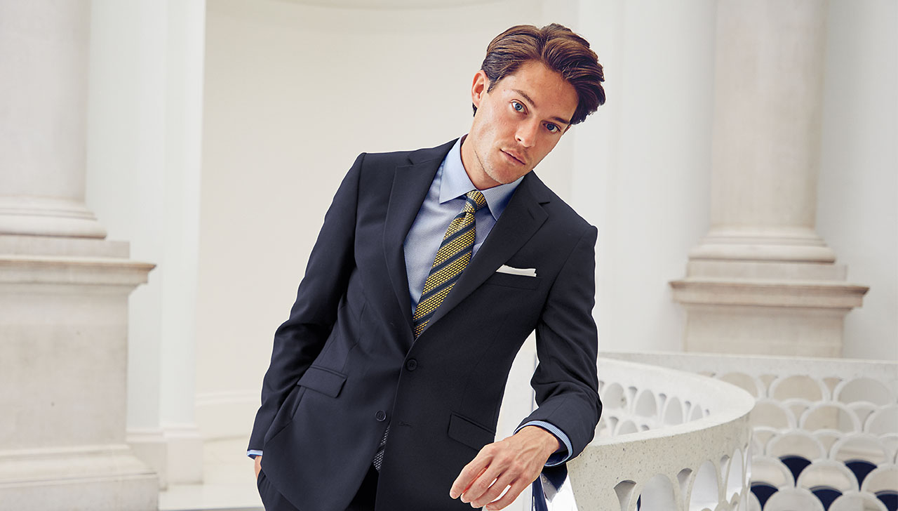 Man wearing an extra slim fit suit
