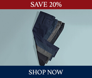 Save up to 20% off trousers