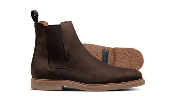 Brown nubuck leather Chelsea boots