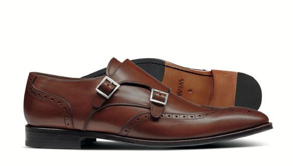 Chestnut double buckle brogue monk shoes