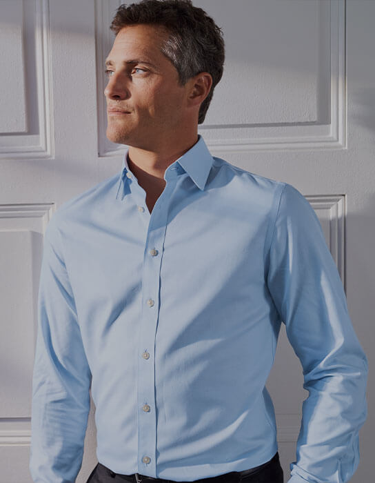 A man in a blue shirt