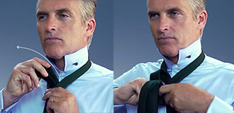 How to tie a four-in-hand knot step 3