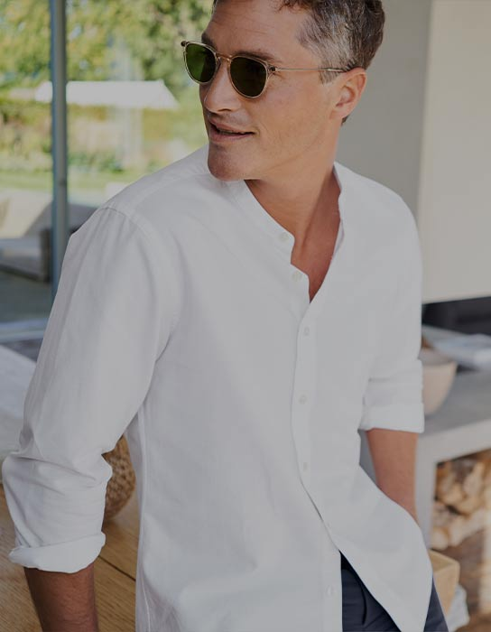 a man in a white shirt