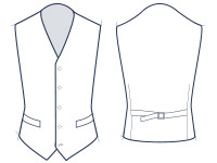 5 button waistcoat illustration