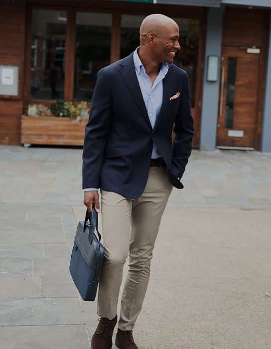 man in tan chinos