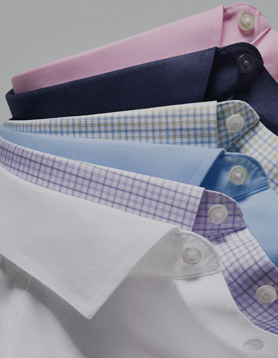 collars of non-iron twill shirts