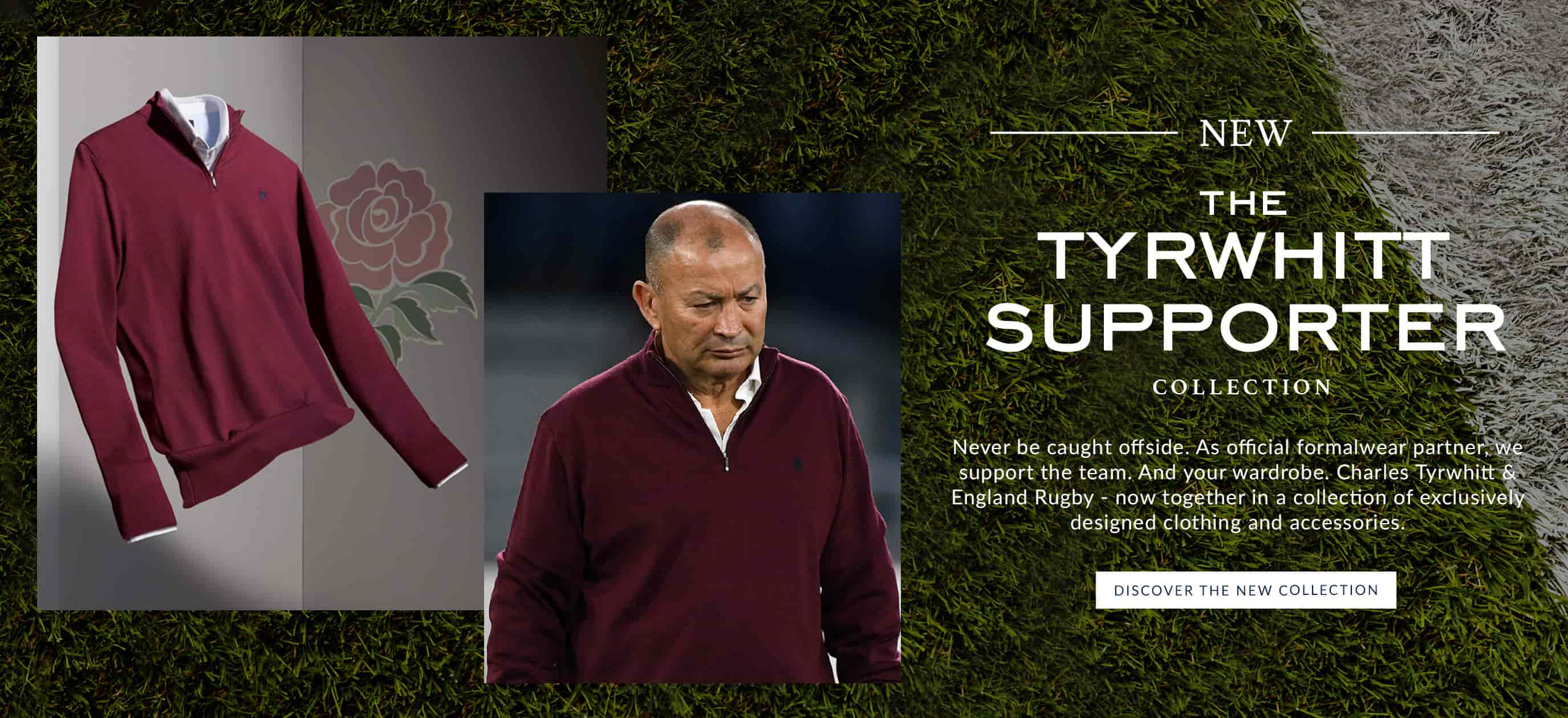 Eddie Jones, England Rugby Coach, wearing Charles Tyrwhitt burgundy merino knitwear
