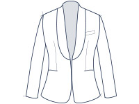 Suit jacket shawl collar slim fit illustration