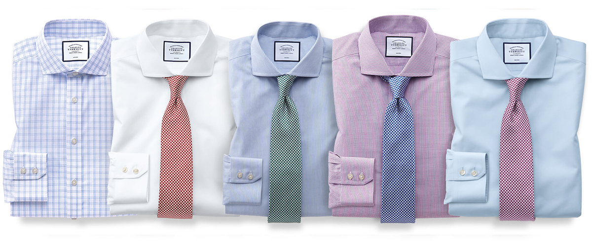 This is an image of natural cool shirts in different colours: blue, pink, green, orange, white