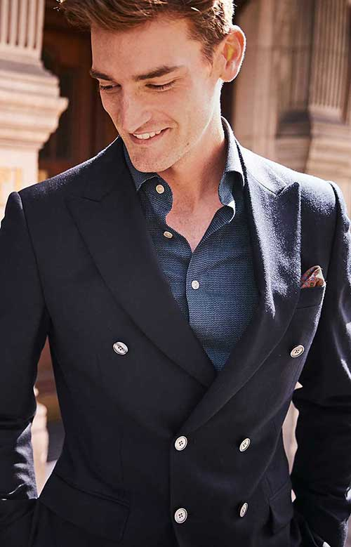 double breasted navy blazer
