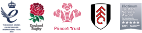 Our partners The Queen's Awards for Enterprise 2016, England Rugby, Prince's Trust, Fulham Football Club, Feefo Platinum Trusted Service Award
